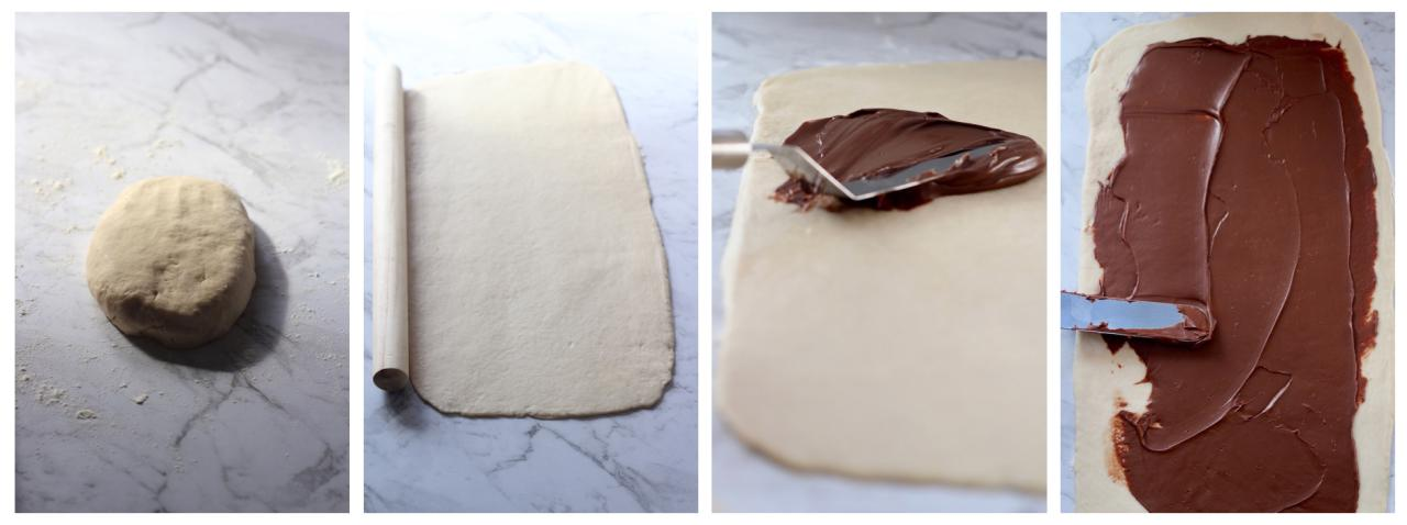 Steps 1 - 4 showing how to make Nutella Swirl Bread.