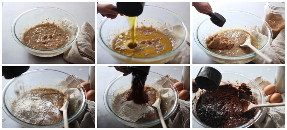 Collage Showing 6 Steps to Making Choc Banana Batter.