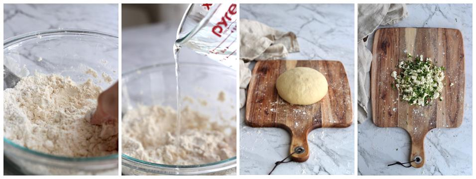 Collage of multipurpose dough being made and baladi cheese filling.