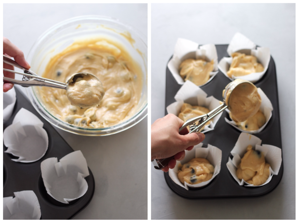 Collage of 2 images showing how to make blueberry muffins, on the left an ice cream scoop measures some batter. On the right, the batter is dropped into the muffin tin