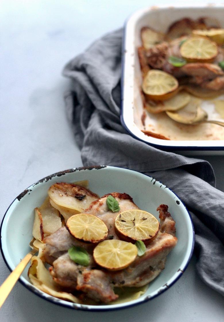 A hearty recipe for Lemon Garlic Chicken Potato Tray Bake