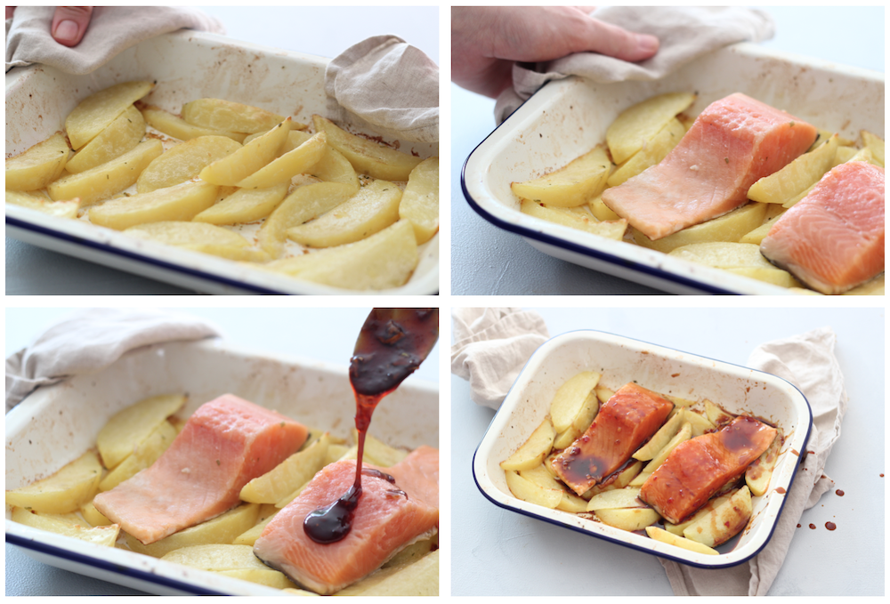 Collage of crispy wedges in baking tray (image 1), 2 salmon fillets added to wedges (image 2), asian glaze being poured on salmon (image 3), read to bake (image 4)