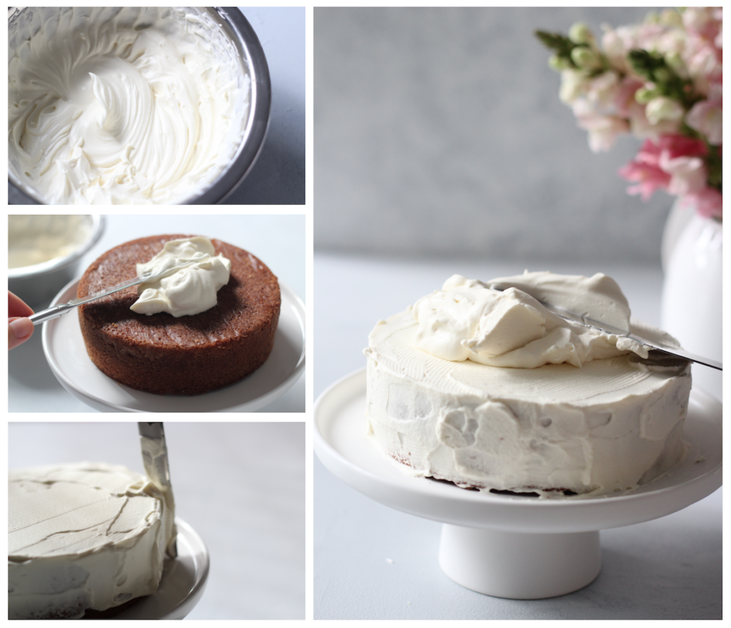 Collage Of Icing Butter Cake With Whipped Cream