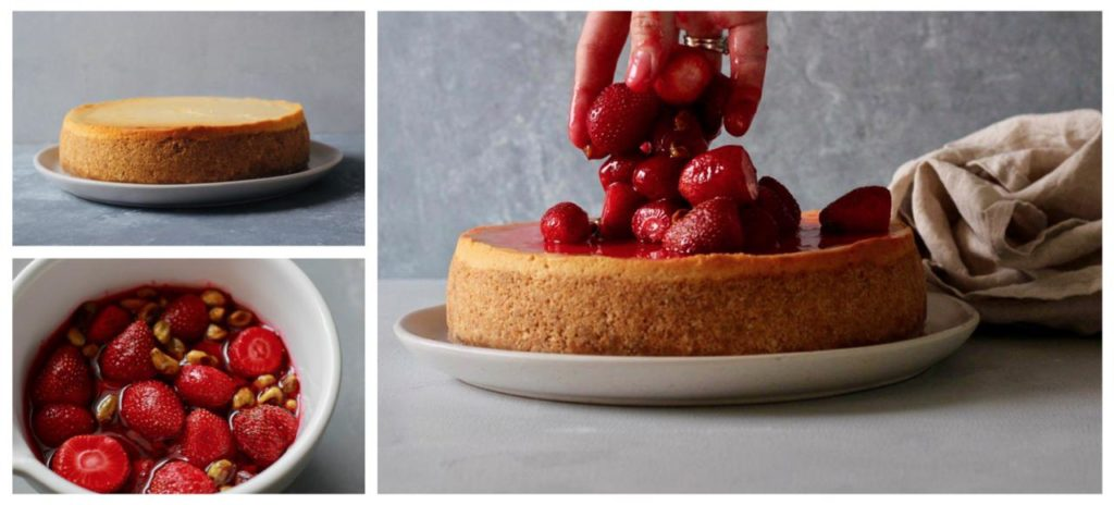 Collage Showing Cheesecake and Syrupy Strawberry Topping