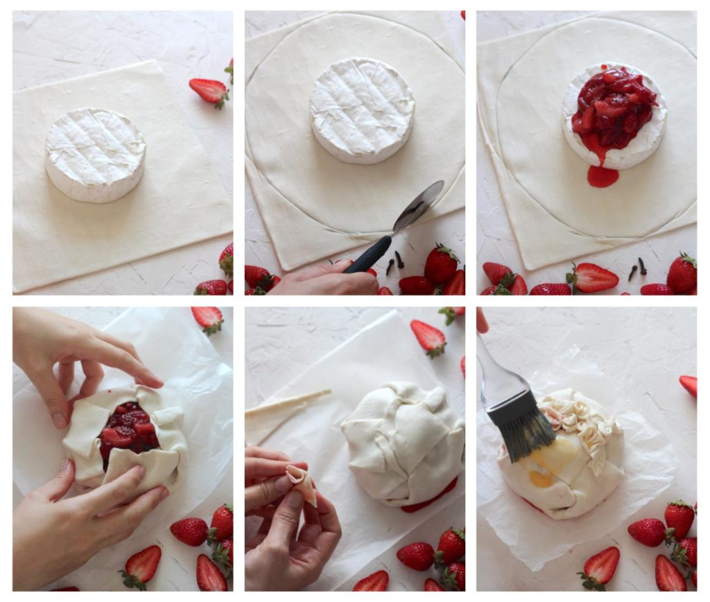 Collage of Steps Showing how to Make Brie En Croute.