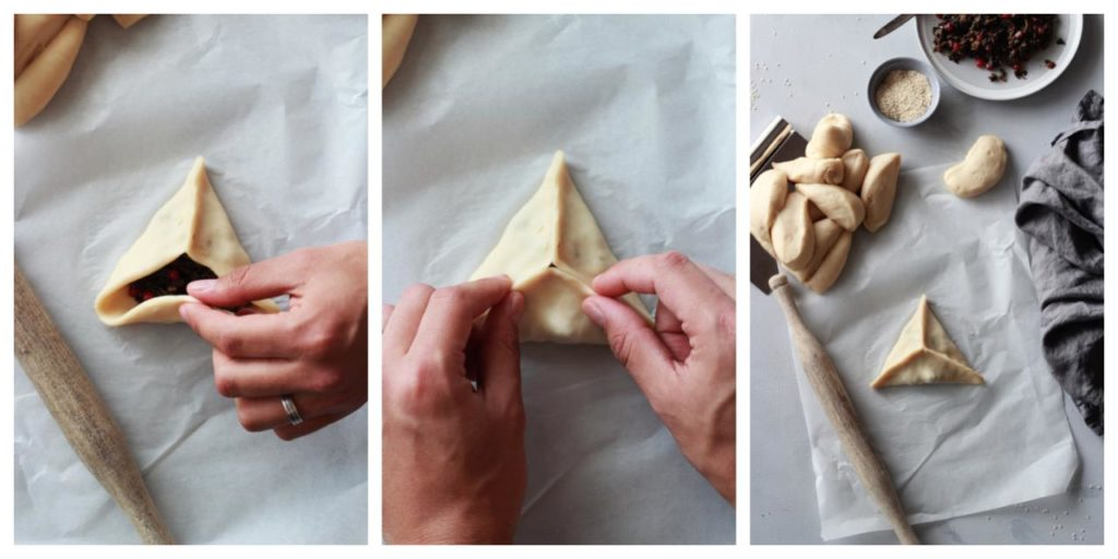 Collage showing how to fold fatayer.