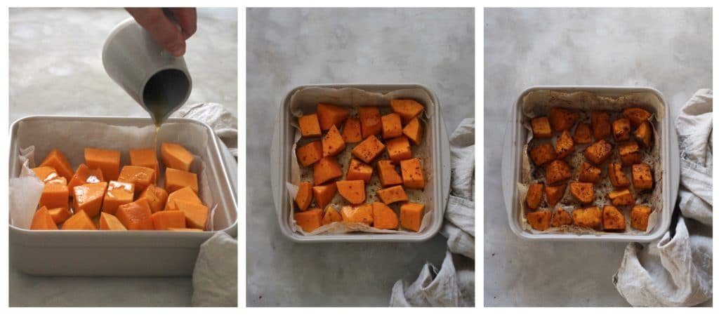 Collage Preparing Chilli Maple Glazed Pumpkin.